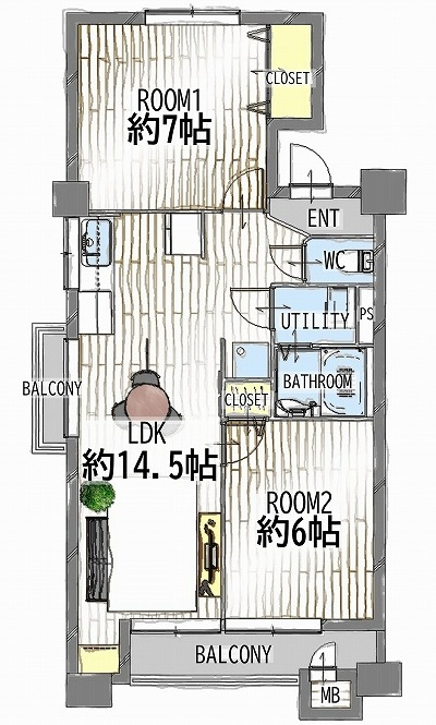 20201010.25名古屋市千種区マンションリノベ見学会 平面図