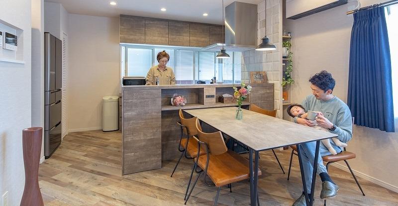 岡崎市N様邸 戸建てリノベ『好みの内装材で、床の張り方にもこだわって。 デザイン重視のヴィンテージ空間。』